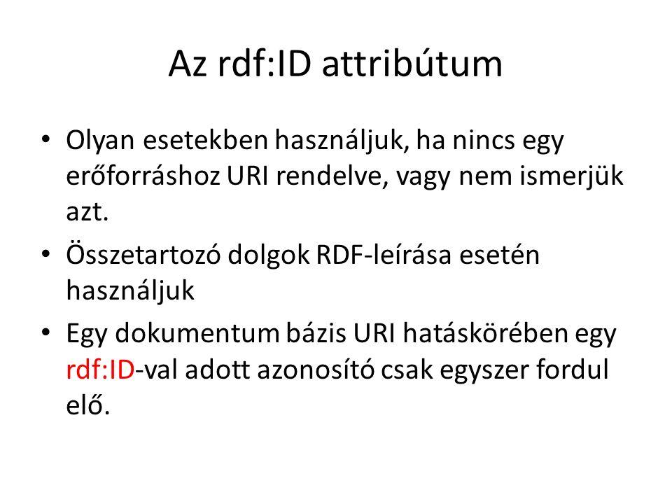 Az rdf:ID attribútum Olyan esetekben használjuk, ha nincs egy erőforráshoz URI rendelve, vagy nem ismerjük azt.
