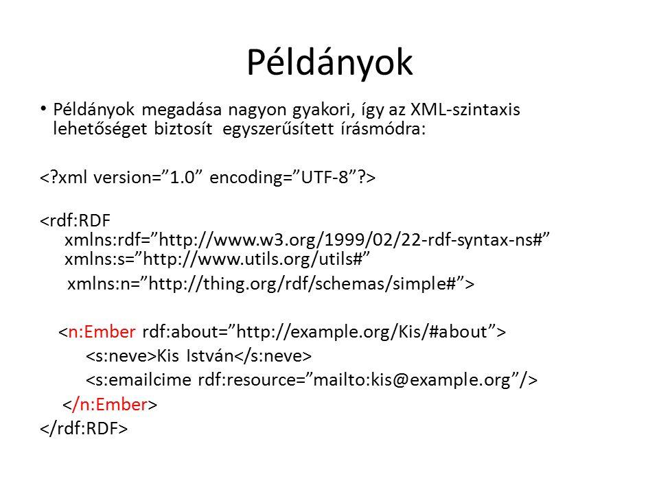 Példányok Példányok megadása nagyon gyakori, így az XML-szintaxis lehetőséget biztosít egyszerűsített írásmódra: <rdf:RDF xmlns:rdf= http://www.w3.org/1999/02/22-rdf-syntax-ns# xmlns:s= http://www.utils.org/utils# xmlns:n= http://thing.org/rdf/schemas/simple# > Kis István