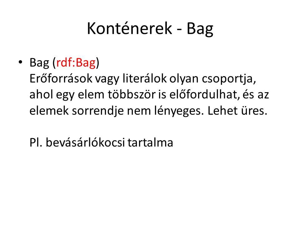 Konténerek - Bag Bag (rdf:Bag) Erőforrások vagy literálok olyan csoportja, ahol egy elem többször is előfordulhat, és az elemek sorrendje nem lényeges.