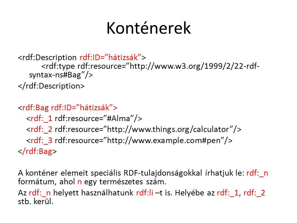 Konténerek A konténer elemeit speciális RDF-tulajdonságokkal írhatjuk le: rdf:_n formátum, ahol n egy természetes szám.