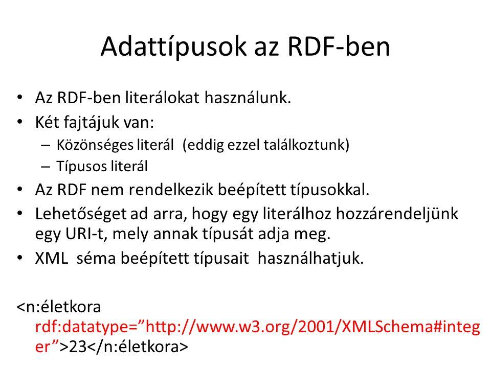 Adattípusok az RDF-ben Az RDF-ben literálokat használunk.