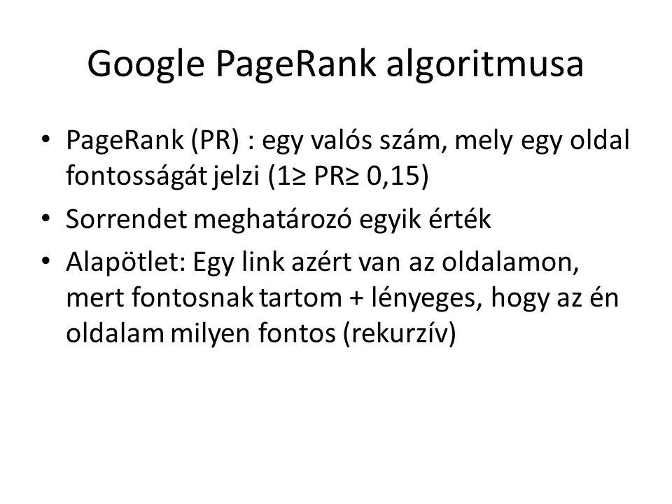 Google PageRank algoritmusa PageRank (PR) : egy valós szám, mely egy oldal fontosságát jelzi (1≥ PR≥ 0,15) Sorrendet meghatározó egyik érték Alapötlet: Egy link azért van az oldalamon, mert fontosnak tartom + lényeges, hogy az én oldalam milyen fontos (rekurzív)