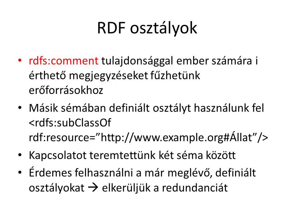 RDF osztályok rdfs:comment tulajdonsággal ember számára i érthető megjegyzéseket fűzhetünk erőforrásokhoz Másik sémában definiált osztályt használunk fel Kapcsolatot teremtettünk két séma között Érdemes felhasználni a már meglévő, definiált osztályokat  elkerüljük a redundanciát