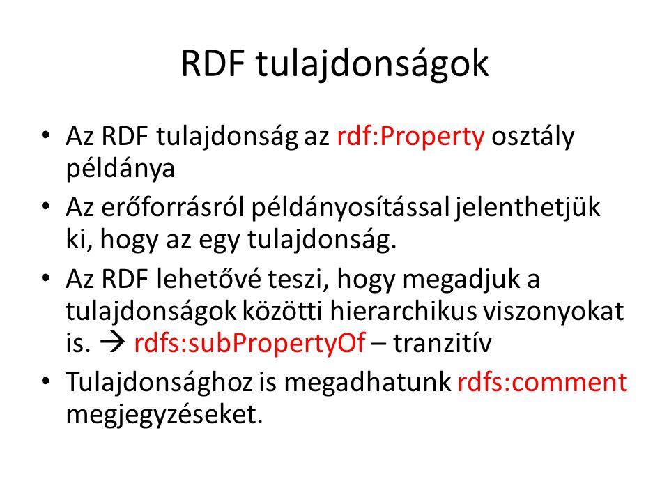RDF tulajdonságok Az RDF tulajdonság az rdf:Property osztály példánya Az erőforrásról példányosítással jelenthetjük ki, hogy az egy tulajdonság.