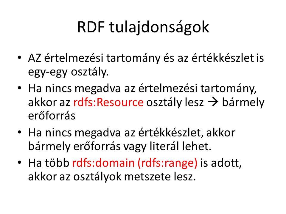 RDF tulajdonságok AZ értelmezési tartomány és az értékkészlet is egy-egy osztály.