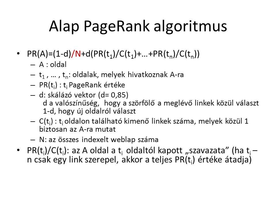 """Alap PageRank algoritmus PR(A)=(1-d)/N+d(PR(t 1 )/C(t 1 )+…+PR(t n )/C(t n )) – A : oldal – t 1, …, t n : oldalak, melyek hivatkoznak A-ra – PR(t i ) : t i PageRank értéke – d: skálázó vektor (d= 0,85) d a valószínűség, hogy a szörfölő a meglévő linkek közül választ 1-d, hogy új oldalról választ – C(t i ) : t i oldalon található kimenő linkek száma, melyek közül 1 biztosan az A-ra mutat – N: az összes indexelt weblap száma PR(t i )/C(t i ): az A oldal a t i oldaltól kapott """"szavazata (ha t i – n csak egy link szerepel, akkor a teljes PR(t i ) értéke átadja)"""