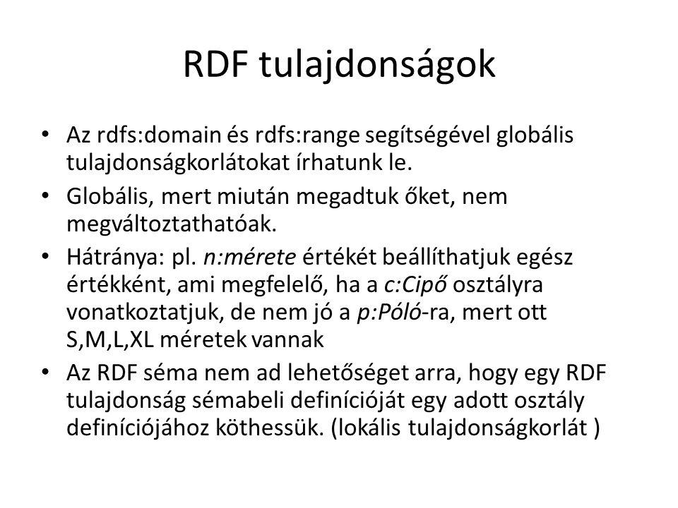 RDF tulajdonságok Az rdfs:domain és rdfs:range segítségével globális tulajdonságkorlátokat írhatunk le.