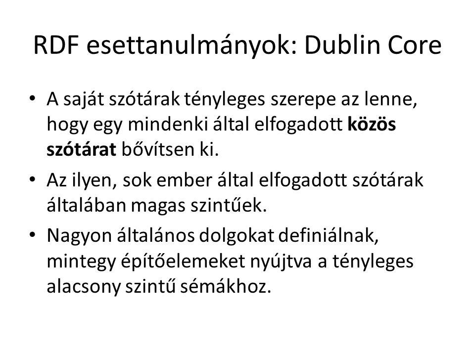RDF esettanulmányok: Dublin Core A saját szótárak tényleges szerepe az lenne, hogy egy mindenki által elfogadott közös szótárat bővítsen ki.