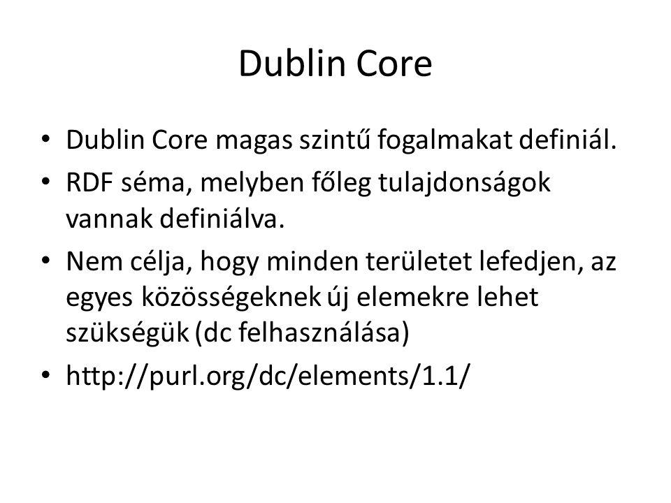 Dublin Core Dublin Core magas szintű fogalmakat definiál.