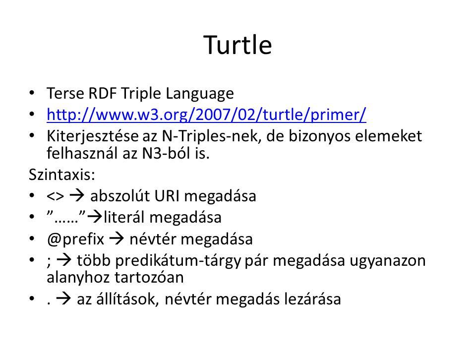 Turtle Terse RDF Triple Language http://www.w3.org/2007/02/turtle/primer/ Kiterjesztése az N-Triples-nek, de bizonyos elemeket felhasznál az N3-ból is.