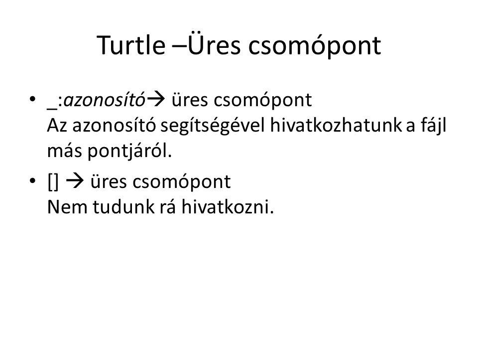 Turtle –Üres csomópont _:azonosító  üres csomópont Az azonosító segítségével hivatkozhatunk a fájl más pontjáról.