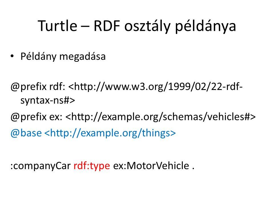 Turtle – RDF osztály példánya Példány megadása @prefix rdf: @prefix ex: @base :companyCar rdf:type ex:MotorVehicle.