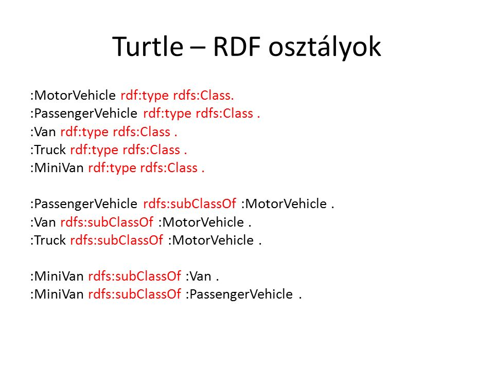 :MotorVehicle rdf:type rdfs:Class.:PassengerVehicle rdf:type rdfs:Class.