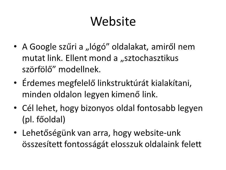 """Website A Google szűri a """"lógó oldalakat, amiről nem mutat link."""