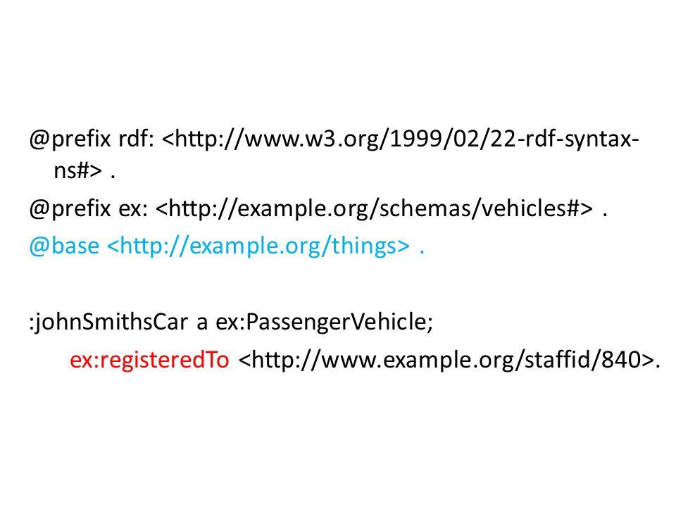 @prefix rdf:. @prefix ex:. @base. :johnSmithsCar a ex:PassengerVehicle; ex:registeredTo.