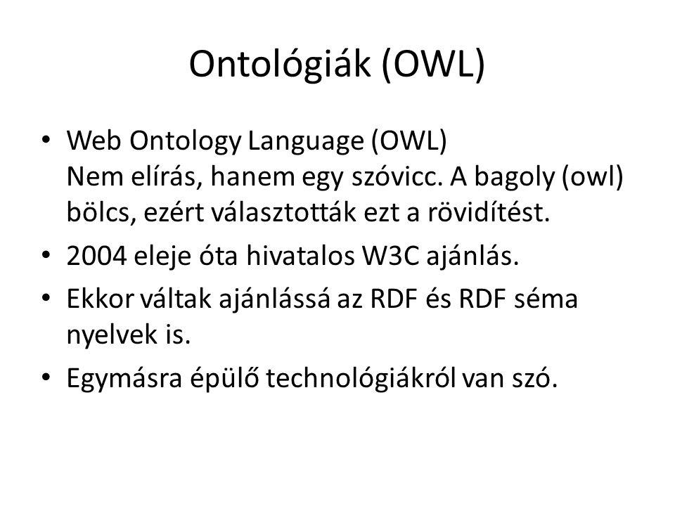 Ontológiák (OWL) Web Ontology Language (OWL) Nem elírás, hanem egy szóvicc.