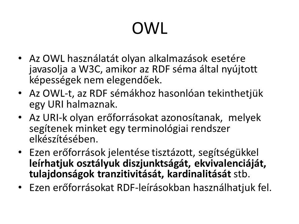 OWL Az OWL használatát olyan alkalmazások esetére javasolja a W3C, amikor az RDF séma által nyújtott képességek nem elegendőek.