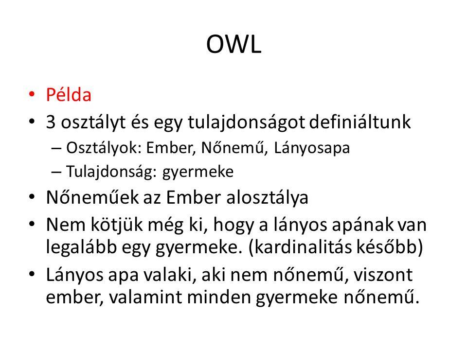 OWL Példa 3 osztályt és egy tulajdonságot definiáltunk – Osztályok: Ember, Nőnemű, Lányosapa – Tulajdonság: gyermeke Nőneműek az Ember alosztálya Nem kötjük még ki, hogy a lányos apának van legalább egy gyermeke.