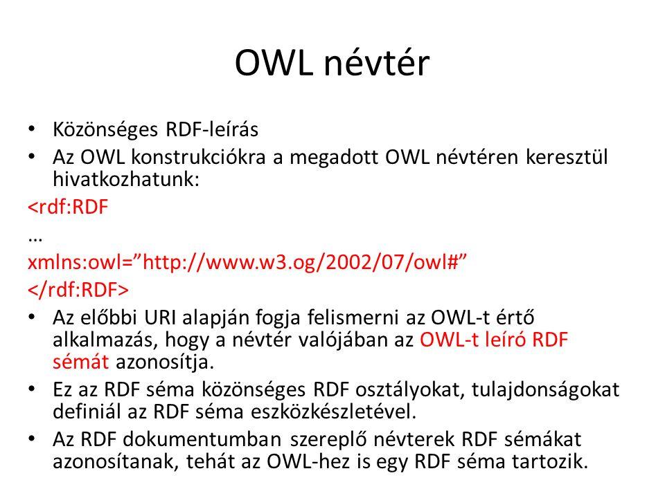 OWL névtér Közönséges RDF-leírás Az OWL konstrukciókra a megadott OWL névtéren keresztül hivatkozhatunk: <rdf:RDF … xmlns:owl= http://www.w3.og/2002/07/owl# Az előbbi URI alapján fogja felismerni az OWL-t értő alkalmazás, hogy a névtér valójában az OWL-t leíró RDF sémát azonosítja.