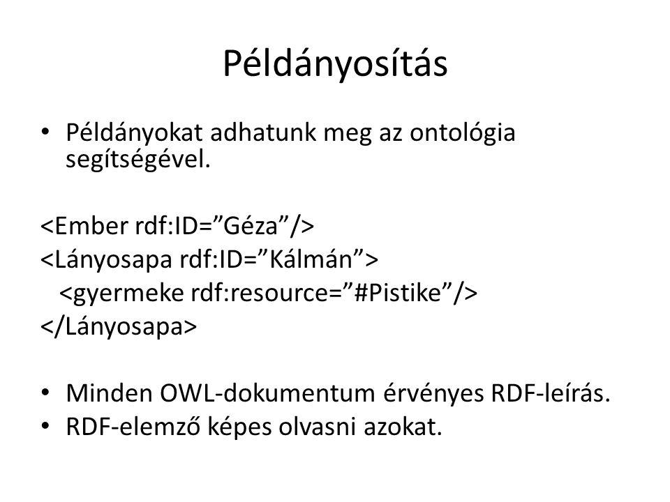 Példányosítás Példányokat adhatunk meg az ontológia segítségével.