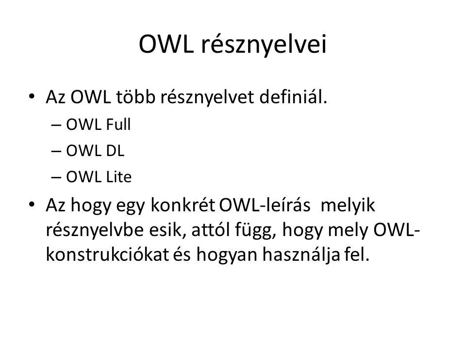 OWL résznyelvei Az OWL több résznyelvet definiál.