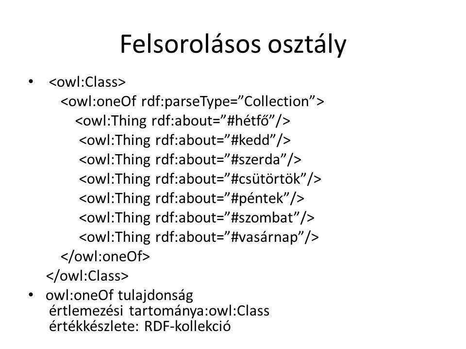 Felsorolásos osztály owl:oneOf tulajdonság értlemezési tartománya:owl:Class értékkészlete: RDF-kollekció