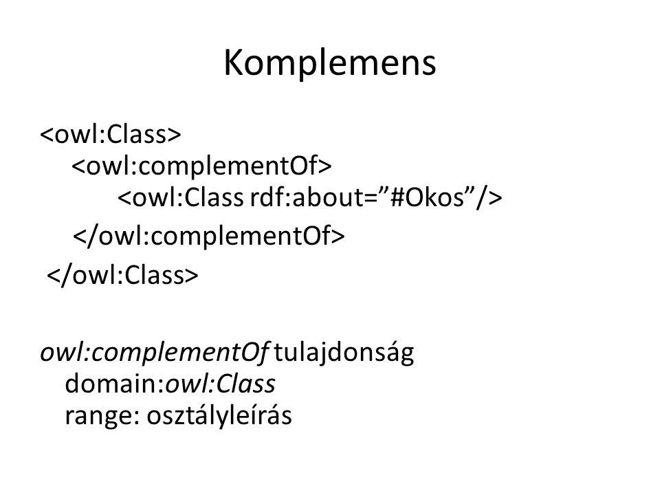 Komplemens owl:complementOf tulajdonság domain:owl:Class range: osztályleírás