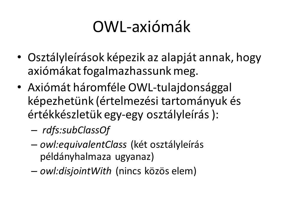 OWL-axiómák Osztályleírások képezik az alapját annak, hogy axiómákat fogalmazhassunk meg.