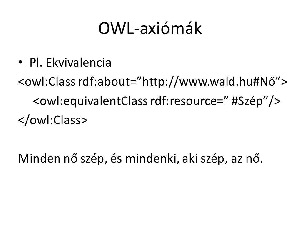 OWL-axiómák Pl. Ekvivalencia Minden nő szép, és mindenki, aki szép, az nő.