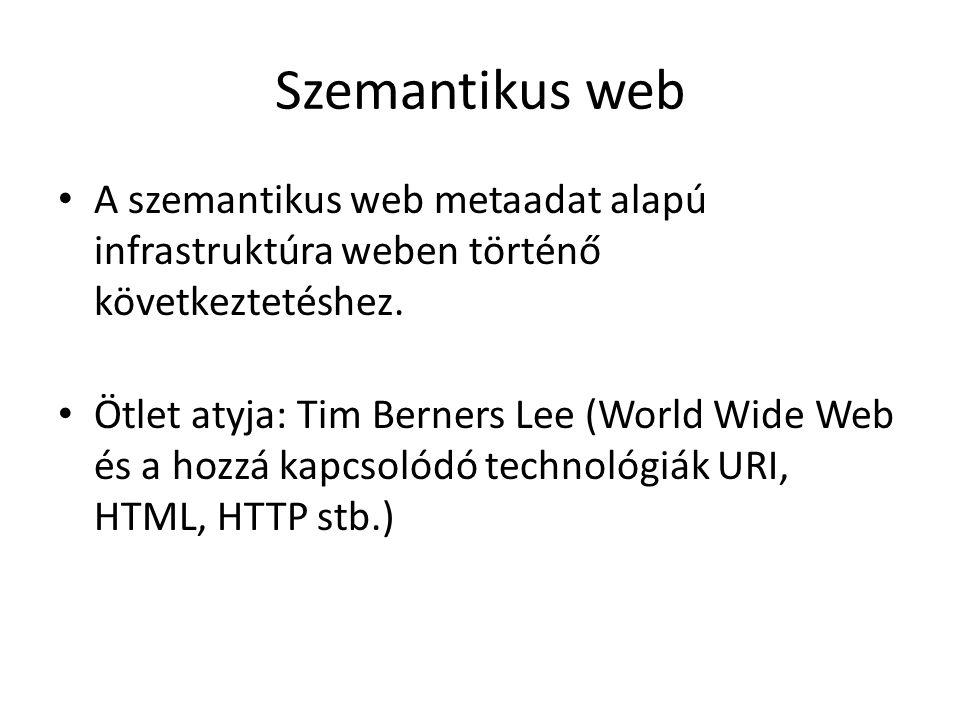 Szemantikus web A szemantikus web metaadat alapú infrastruktúra weben történő következtetéshez.