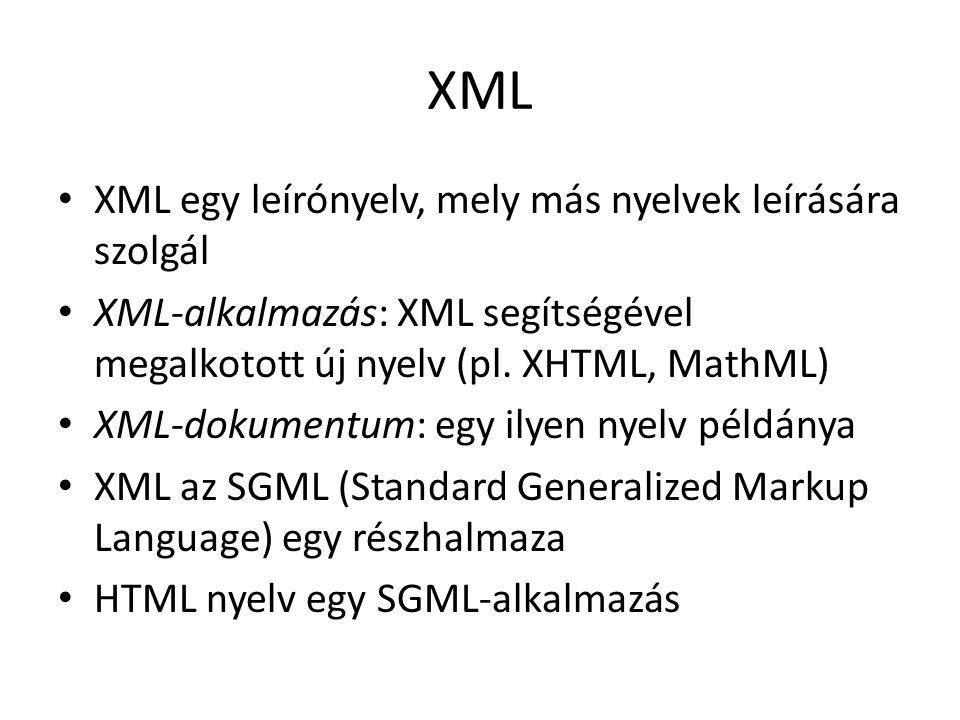 XML XML egy leírónyelv, mely más nyelvek leírására szolgál XML-alkalmazás: XML segítségével megalkotott új nyelv (pl.