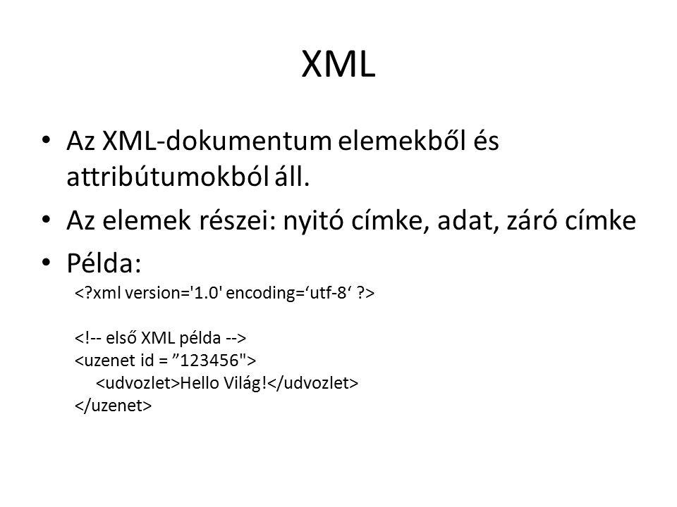 XML Az XML-dokumentum elemekből és attribútumokból áll.