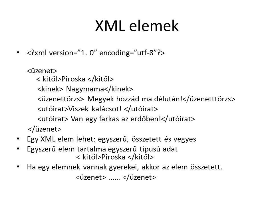 XML elemek Piroska Nagymama Megyek hozzád ma délután.