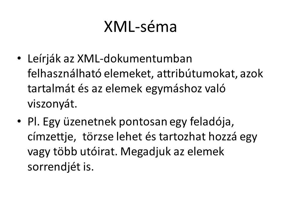 XML-séma Leírják az XML-dokumentumban felhasználható elemeket, attribútumokat, azok tartalmát és az elemek egymáshoz való viszonyát.