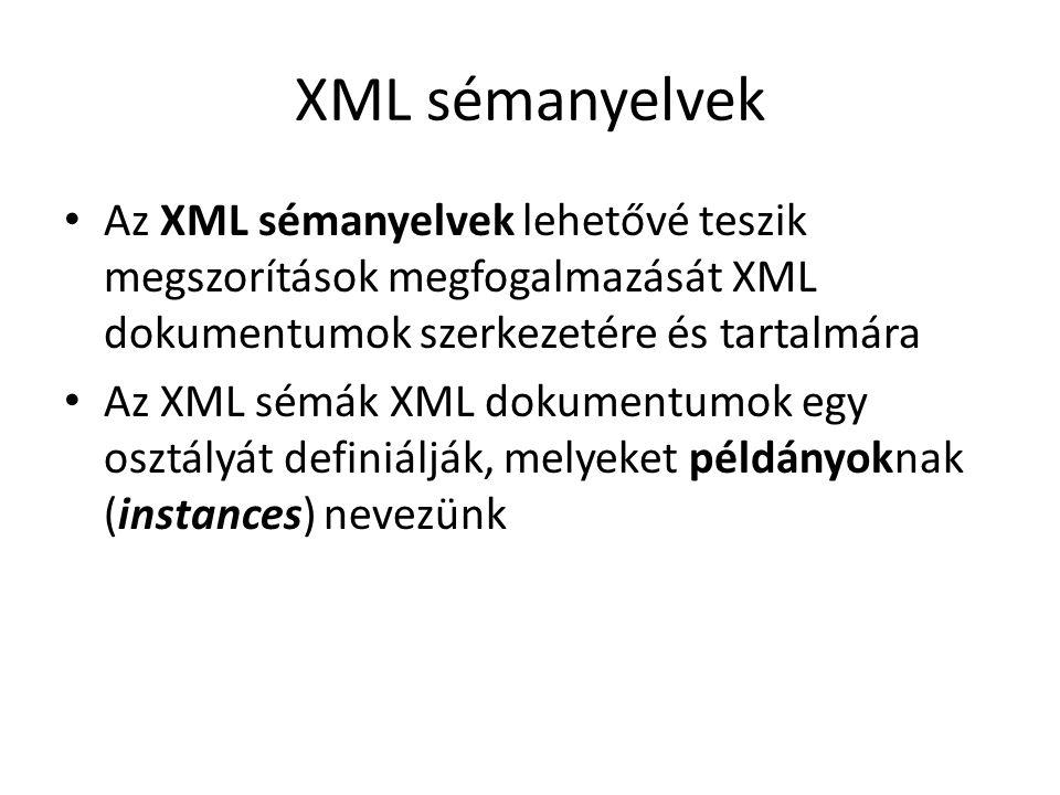XML sémanyelvek Az XML sémanyelvek lehetővé teszik megszorítások megfogalmazását XML dokumentumok szerkezetére és tartalmára Az XML sémák XML dokumentumok egy osztályát definiálják, melyeket példányoknak (instances) nevezünk