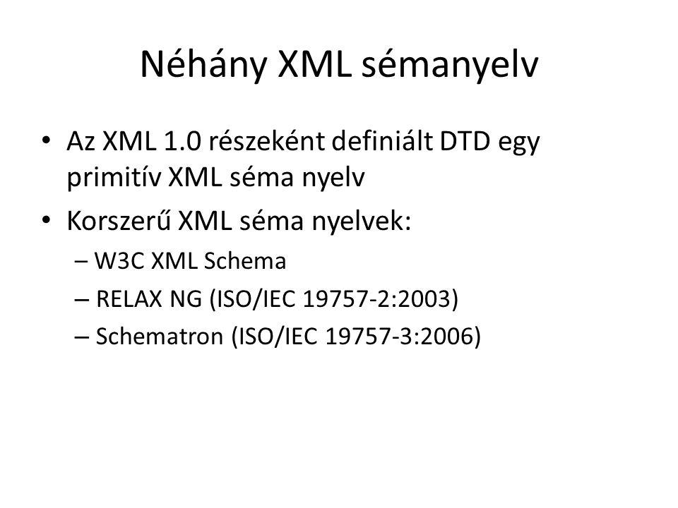 Néhány XML sémanyelv Az XML 1.0 részeként definiált DTD egy primitív XML séma nyelv Korszerű XML séma nyelvek: – W3C XML Schema – RELAX NG (ISO/IEC 19757-2:2003) – Schematron (ISO/IEC 19757-3:2006)