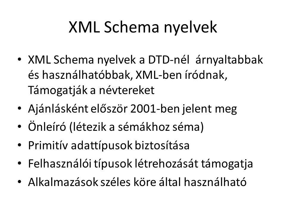 XML Schema nyelvek XML Schema nyelvek a DTD-nél árnyaltabbak és használhatóbbak, XML-ben íródnak, Támogatják a névtereket Ajánlásként először 2001-ben jelent meg Önleíró (létezik a sémákhoz séma) Primitív adattípusok biztosítása Felhasználói típusok létrehozását támogatja Alkalmazások széles köre által használható
