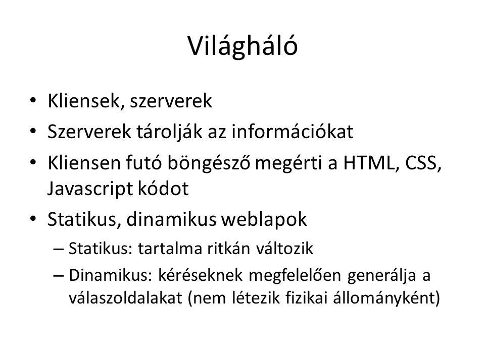 Világháló Kliensek, szerverek Szerverek tárolják az információkat Kliensen futó böngésző megérti a HTML, CSS, Javascript kódot Statikus, dinamikus weblapok – Statikus: tartalma ritkán változik – Dinamikus: kéréseknek megfelelően generálja a válaszoldalakat (nem létezik fizikai állományként)