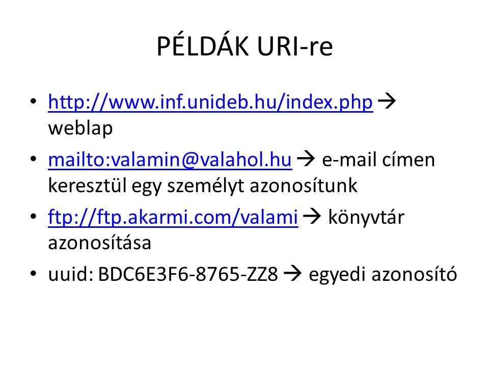 PÉLDÁK URI-re http://www.inf.unideb.hu/index.php  weblap http://www.inf.unideb.hu/index.php mailto:valamin@valahol.hu  e-mail címen keresztül egy személyt azonosítunk mailto:valamin@valahol.hu ftp://ftp.akarmi.com/valami  könyvtár azonosítása ftp://ftp.akarmi.com/valami uuid: BDC6E3F6-8765-ZZ8  egyedi azonosító