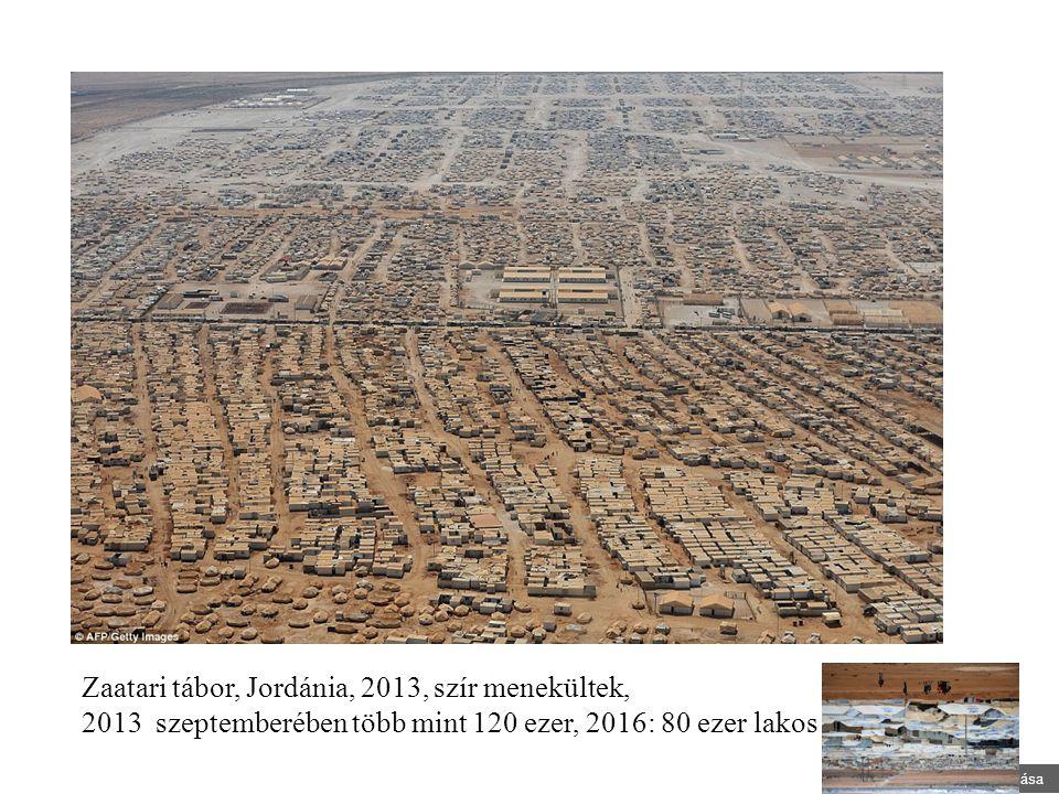 Nagy Boldizsár előadása Zaatari tábor, Jordánia, 2013, szír menekültek, 2013 szeptemberében több mint 120 ezer, 2016: 80 ezer lakos