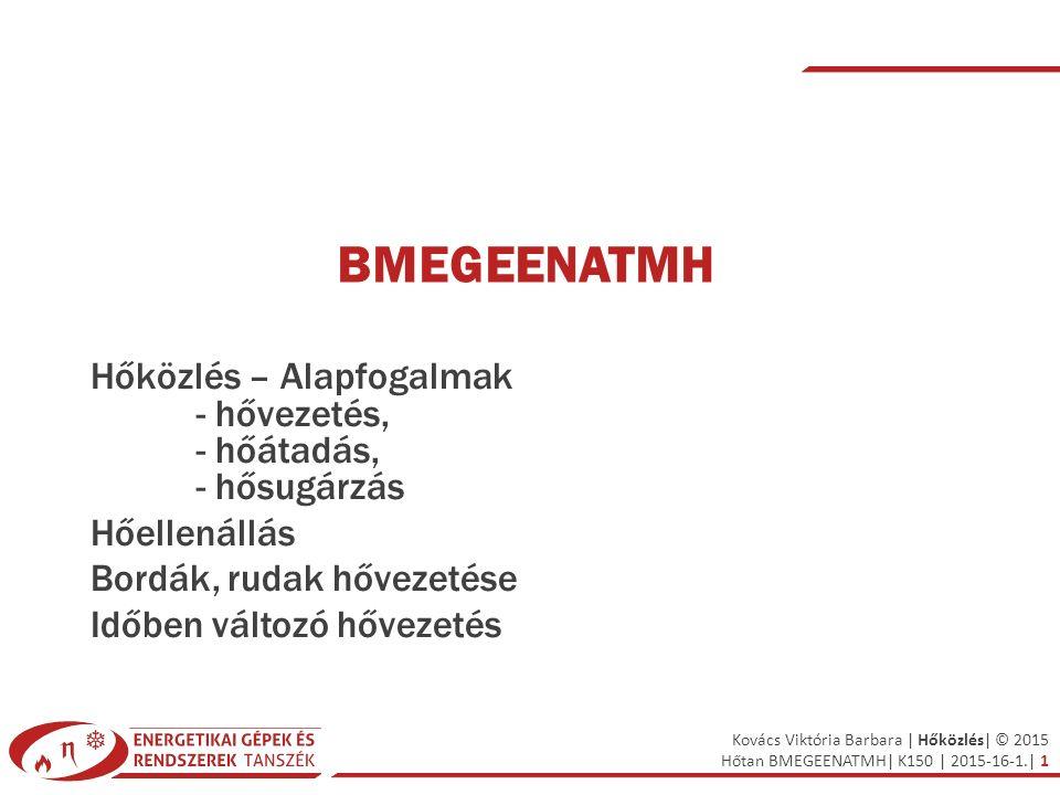 Kovács Viktória Barbara | Hőközlés| © 2015 Hőtan BMEGEENATMH| K150 | 2015-16-1.| 1 BMEGEENATMH Hőközlés – Alapfogalmak - hővezetés, - hőátadás, - hősu