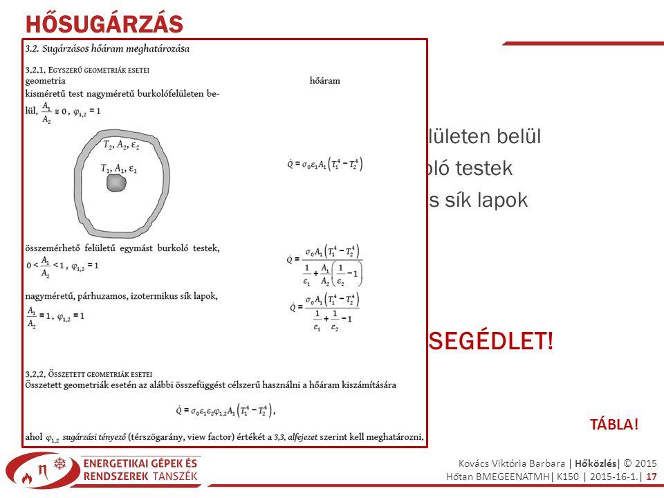 Kovács Viktória Barbara | Hőközlés| © 2015 Hőtan BMEGEENATMH| K150 | 2015-16-1.| 17 HŐSUGÁRZÁS TESTEK EGYMÁSRA SUGÁRZÁSA Egyszerű geometriák esetei –