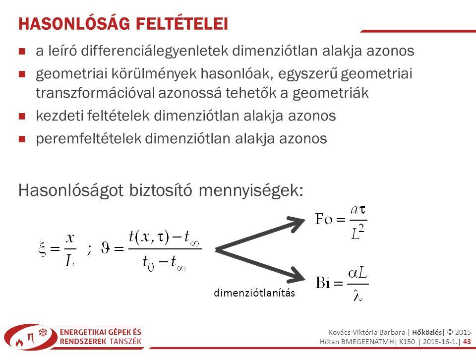 Kovács Viktória Barbara | Hőközlés| © 2015 Hőtan BMEGEENATMH| K150 | 2015-16-1.| 43 HASONLÓSÁG FELTÉTELEI a leíró differenciálegyenletek dimenziótlan