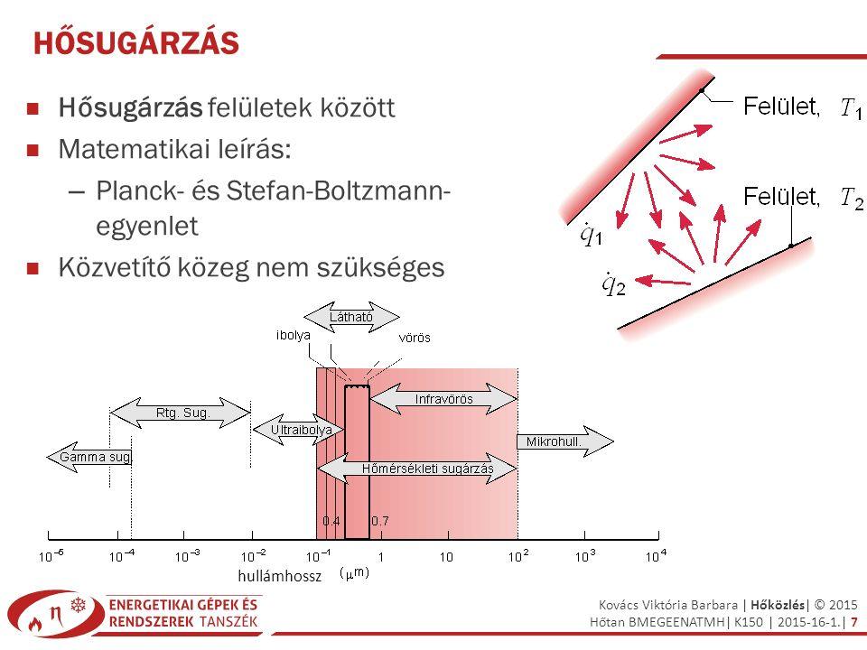 Kovács Viktória Barbara | Hőközlés| © 2015 Hőtan BMEGEENATMH| K150 | 2015-16-1.| 7 HŐSUGÁRZÁS Hősugárzás felületek között Matematikai leírás: – Planck