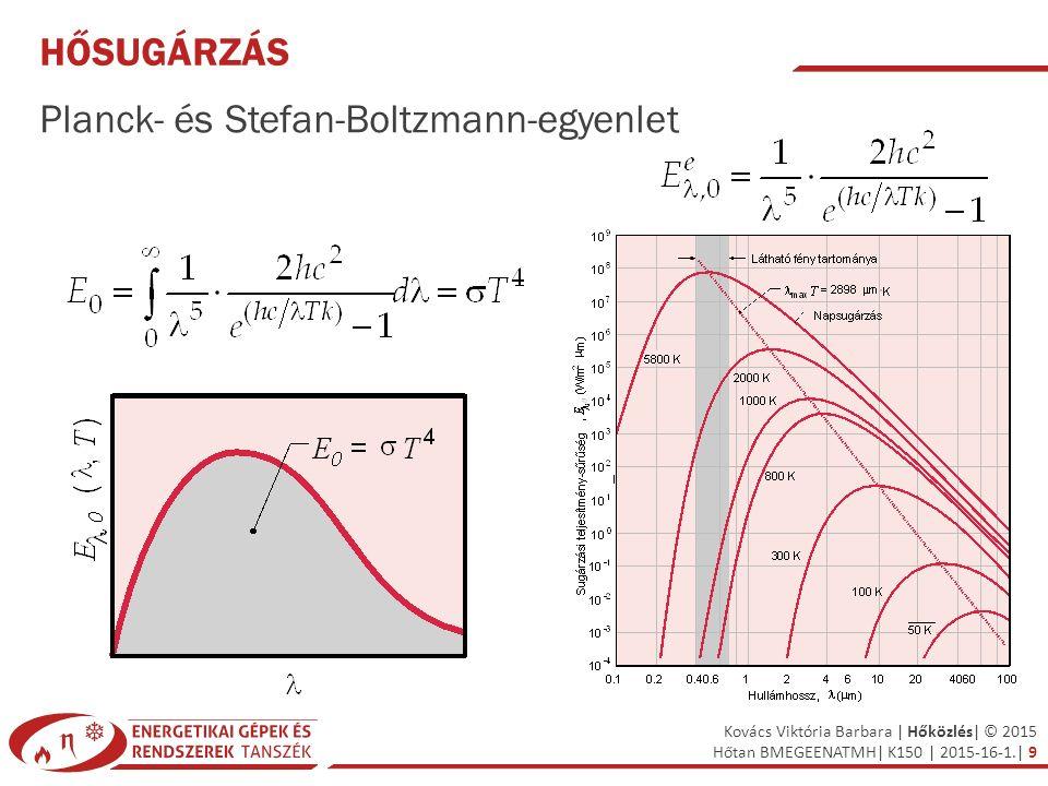 Kovács Viktória Barbara | Hőközlés| © 2015 Hőtan BMEGEENATMH| K150 | 2015-16-1.| 9 HŐSUGÁRZÁS Planck- és Stefan-Boltzmann-egyenlet