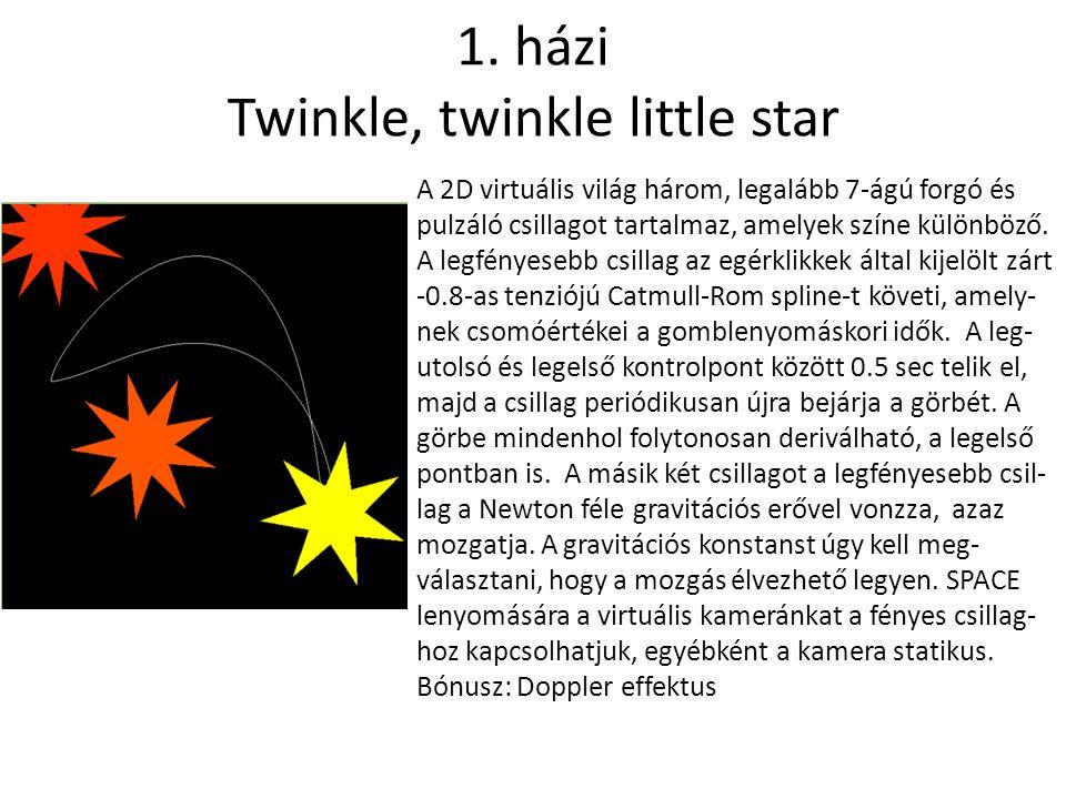 1. házi Twinkle, twinkle little star A 2D virtuális világ három, legalább 7-ágú forgó és pulzáló csillagot tartalmaz, amelyek színe különböző. A legfé