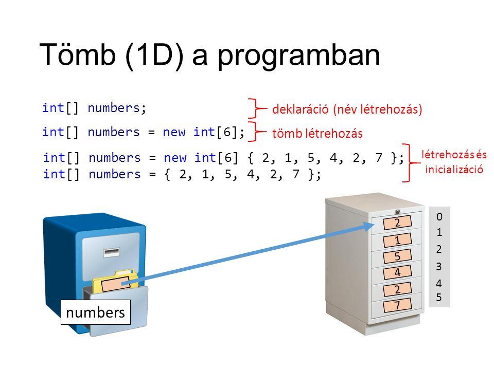 Tömb (1D) a programban int[] numbers; tömb létrehozás deklaráció (név létrehozás) numbers .