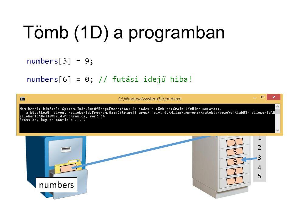 Tömb (1D) a programban numbers ??? 0 1 2 3 4 5 2 1 5 4 2 7 numbers[3] = 9; numbers[6] = 0; 9 // futási idejű hiba!