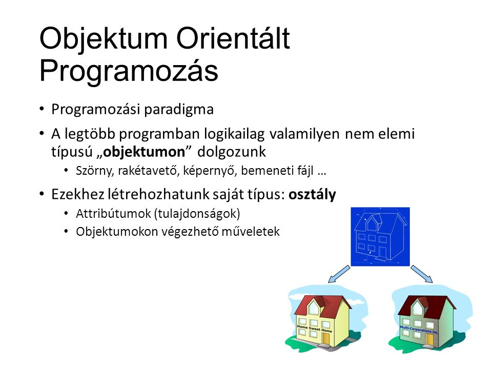 """Objektum Orientált Programozás Programozási paradigma A legtöbb programban logikailag valamilyen nem elemi típusú """"objektumon dolgozunk Szörny, rakétavető, képernyő, bemeneti fájl … Ezekhez létrehozhatunk saját típus: osztály Attribútumok (tulajdonságok) Objektumokon végezhető műveletek"""