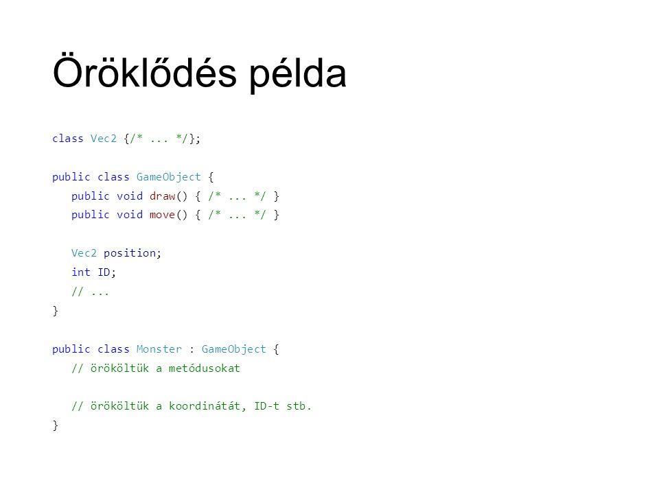 Öröklődés példa class Vec2 {/*... */}; public class GameObject { public void draw() { /*...